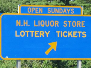 Apparently all signs for New Hampshire talk of lottery and liquor...