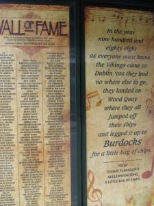 Leo Burdock's Hall o' Fame.  It includes Bono (of course).