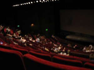 Inside the Abbey Theatre, getting ready for the show.