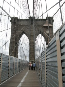 Walking across the Brooklyn Bridge.  Sadly, nobody wanted to purchase it.