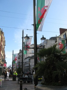 You can tell it's Cardiff because of all the dragons.