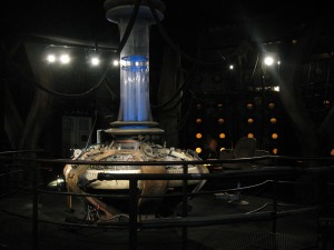 The Tenth Doctor's TARDIS controls, with a video loop of Tennent-to-Smith.  Oh the feelings...