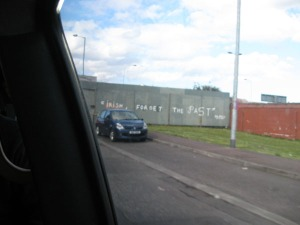 "Driving up to the gate.  ""Irish, forget the past"""