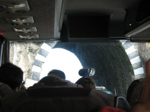 Bud's at the front - and, yes, the bus did fit through that small tunnel.