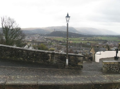 Looking out at Stirling, and the Wallace Monument (far away - that tall building on top of the hill)