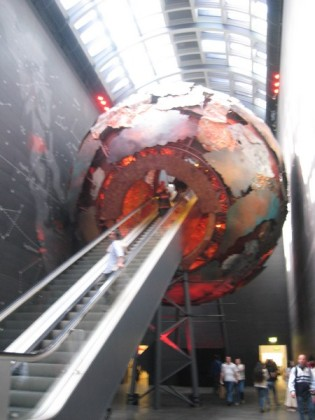 Ignore the fuzzy and admire the giant escalator.