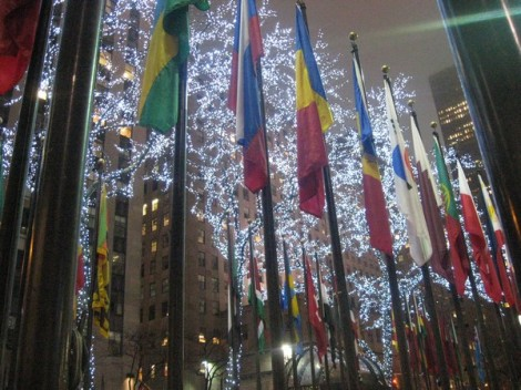 Tree-lights and the flags of the world.
