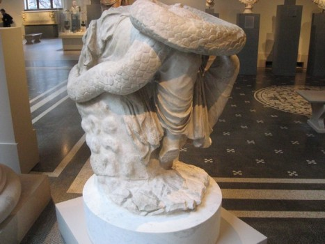 Lower part of a marble statue of Hygieia.
