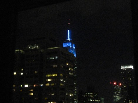 Empire State Building in Blue.