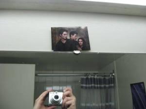 Bathroom mirror.