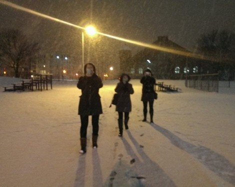 Myself and 3 friends walking across the Commons.  This is snow done right.