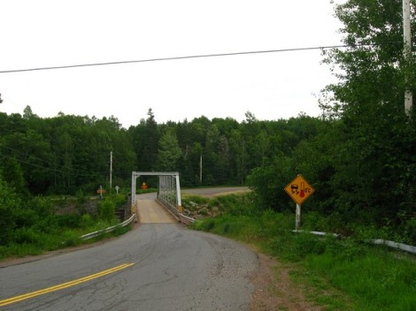 Small-town bridge!  One lane only!